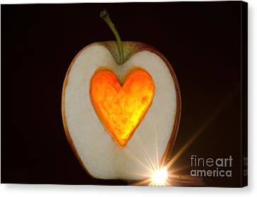 Apple With A Heart Canvas Print by Mats Silvan