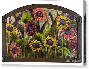 Arched Sunflowers With Gold Leaf By Vic Mastis Canvas Print by Vic  Mastis