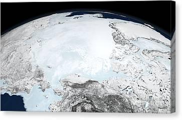 Arctic Sea Ice, 2008 Canvas Print by NASA/Goddard Space Flight Center Scientific Visualization Studio