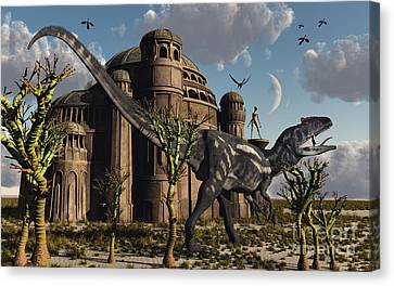 Artists Concept Of A Reptoid Race Whom Canvas Print by Mark Stevenson