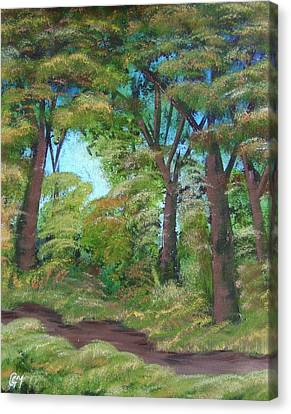 Canvas Print featuring the painting Autumn Evening by Charles and Melisa Morrison