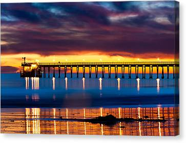 Bacara Haskells  Beach And Pier Santa Barbara  Canvas Print by Eyal Nahmias