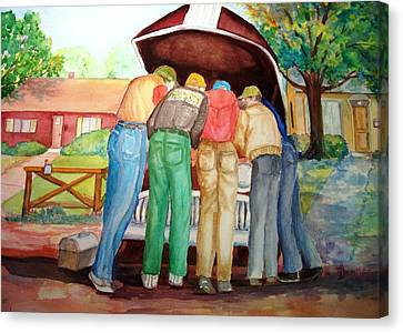 Canvas Print featuring the painting Backyard Mechanics by AnnE Dentler