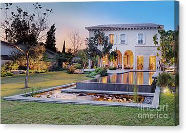 Backyard Of Upscale Residence Canvas Print by Noam Armonn