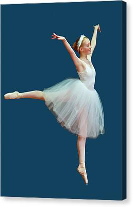 Ballerina On Blue Canvas Print