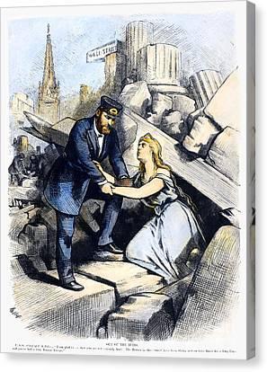 Bank Panic Cartoon, 1873 Canvas Print by Granger