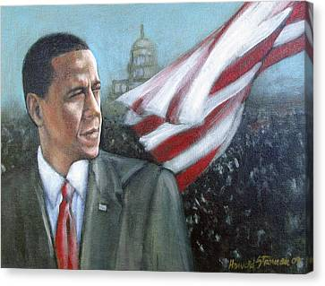 Barack Obama Canvas Print by Howard Stroman