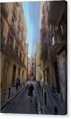 Barcelona Street Scene Canvas Print by Sven Brogren