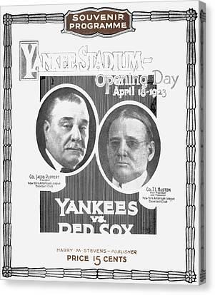 Baseball Program, 1923 Canvas Print by Granger