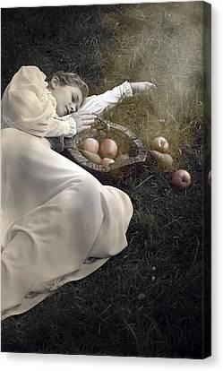 Creepy Canvas Print - Basket With Fruits by Joana Kruse