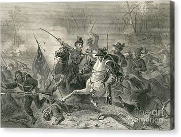 Battle Of Shiloh, Charge Of General Canvas Print by Photo Researchers