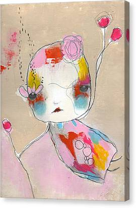 Flower Pink Fairy Child Canvas Print - Be Polite by Christina Romeo