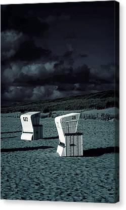 Sandy Beach Canvas Print - Beach Chairs by Joana Kruse