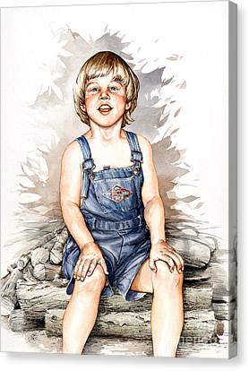 Canvas Print featuring the painting Behind The Woodshed by Bob  George