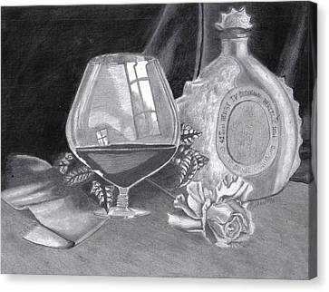 Between Friends - A 3 Million Dollar Bottle Of Cognac Canvas Print by Mickael Bruce