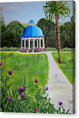 Canvas Print featuring the painting Bev's Bandstand by Lyn Calahorrano
