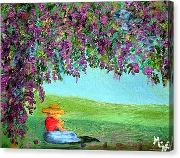Canvas Print featuring the painting Beyond The Arbor by Margaret Harmon