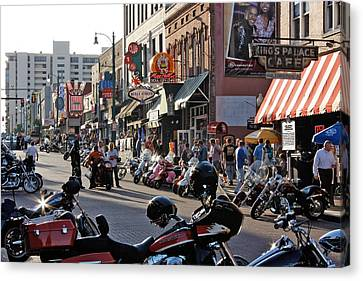 Bikes On Beale Canvas Print by Dawn Davis