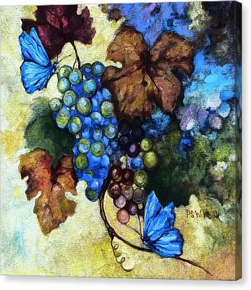 Blue Butterflies  Canvas Print by Peggy Wilson