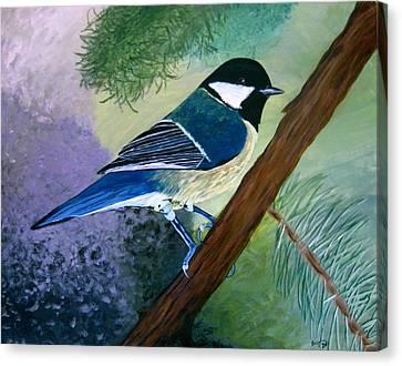 Blue Chickadee Canvas Print by Angela Gale