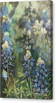 Canvas Print featuring the painting Bluebonnet Blessing by Karen Kennedy Chatham