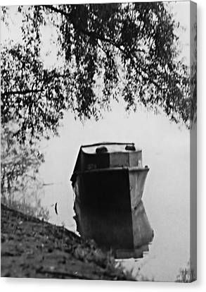 Canvas Print featuring the photograph Boat On Foggy Rhine by Bob Wall