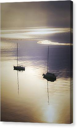 Boats In Mist Canvas Print