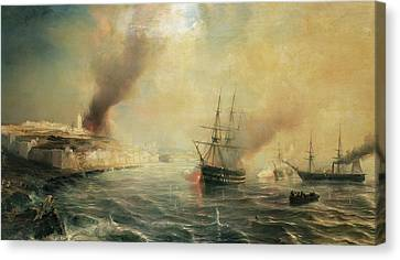 Bombardment Of Sale Canvas Print by Jean Antoine Theodore Gudin