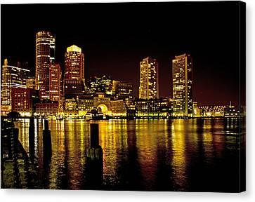 Boston At Night Canvas Print by Gordon Ripley