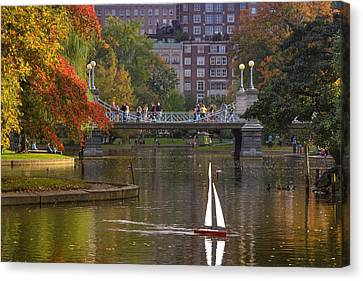 Fall In New England Canvas Print - Boston Public Garden by Joann Vitali