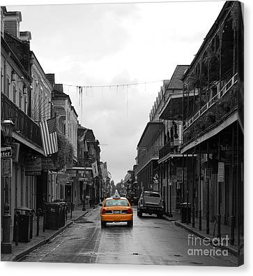 Bourbon Street Taxi Cab French Quarter New Orleans Color Splash Black And White  Canvas Print by Shawn O'Brien