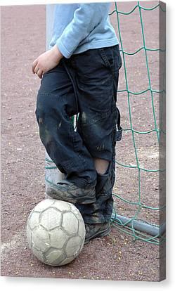 Goalkeeper Canvas Print - Boy With Soccer Ball by Matthias Hauser