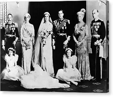 British Royal Family. Seated, From Left Canvas Print by Everett