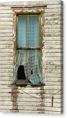 Broken Window In Abandoned House Canvas Print by Jill Battaglia
