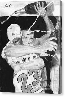 Michael Jordan Canvas Print - Bulls Celebration by Tamir Barkan