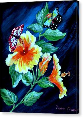 Butterflies And Blooms Canvas Print by Fram Cama