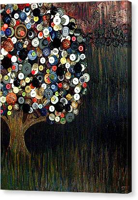 Canvas Print featuring the painting Button Tree 0002 by Monica Furlow