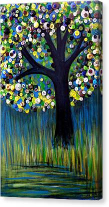 Canvas Print featuring the painting Button Tree 0005 by Monica Furlow