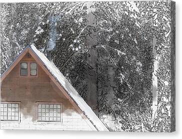 Cabin In The Winter Canvas Print by Brandon Bourdages