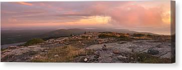 Cadillac Mountain Sunrise Panorama Canvas Print by Stephen  Vecchiotti