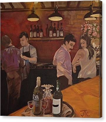 Canvas Print featuring the painting Cafe by Julie Todd-Cundiff