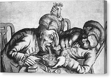 Caricature Of Two Alcoholics, 1773 Canvas Print by Science Source