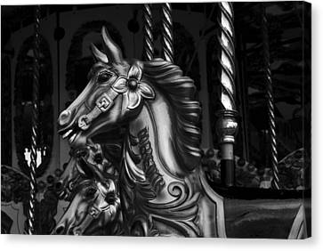 Canvas Print featuring the photograph Carousel Horses Mono by Steve Purnell
