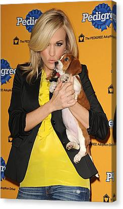 Carrie Underwood At A Public Appearance Canvas Print