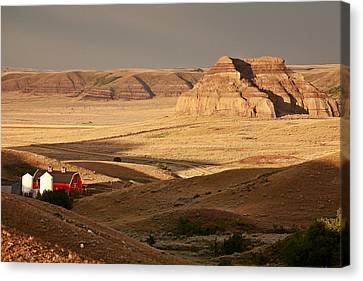 Barn Storm Canvas Print - Castle Butte In Big Muddy Valley Of Saskatchewan by Mark Duffy