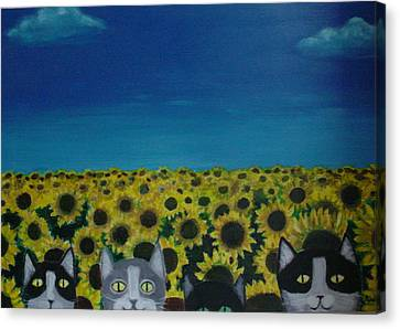 Cats And Sunflowers Canvas Print by Diana Riukas