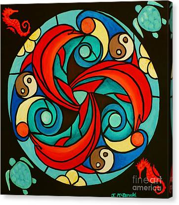 Canvas Print featuring the painting Celtic Dolphin Mandala by Janet McDonald