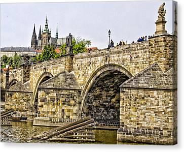 Charles Bridge And Prague Castle Canvas Print by Jon Berghoff