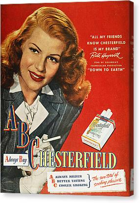 Chesterfield Cigarette Ad Canvas Print