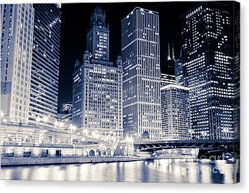 Chicago River Canvas Print - Chicago Downtown At Night by Paul Velgos